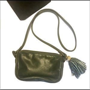 Albert Nipon Crossbody Handbag Green With Tassel
